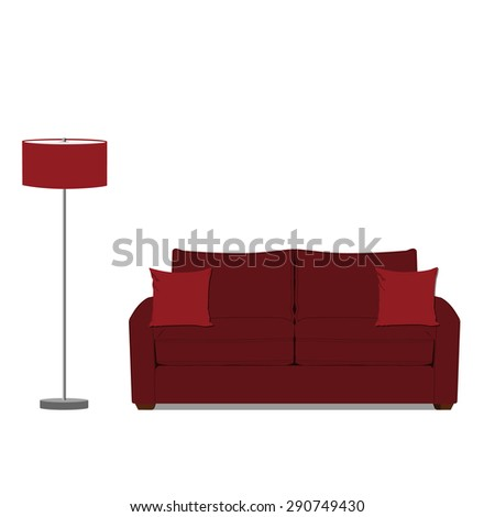 Vector illustration of red sofa with two pillows and red standing floor lamp. Classic sofa. Living room interior