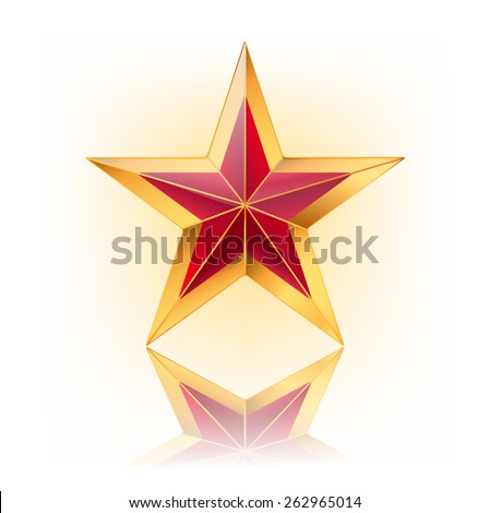 vector illustration of red star with gold. vector illustration - stock vector