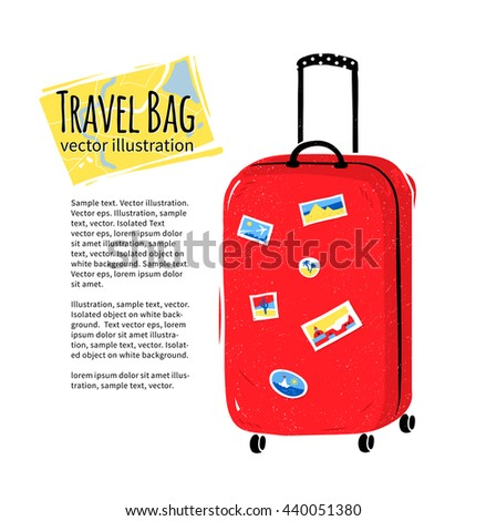 Vector illustration of red travel bag isolated on white background. - stock vector