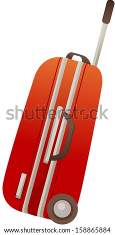 Vector illustration of red trolley case