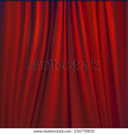 Vector illustration of red velvet curtain.
