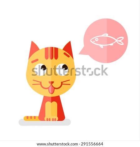 Vector illustration of redhair cat. Speech bubbles with fish. - stock vector
