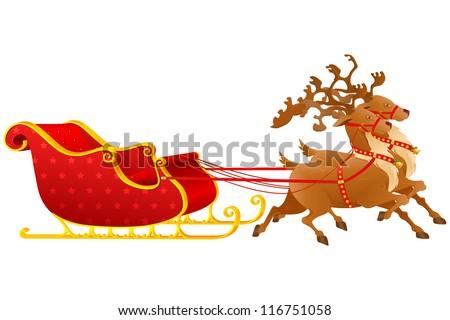 vector illustration of reindeer pulling Gloden Christmas Sledge - stock vector