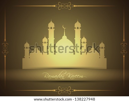 vector illustration of religious brown color eid background design with text ramadan kareem. - stock vector