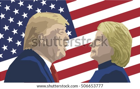 Vector Illustration of Republican Donald Trump versus Democrat Hillary Clinton face-off for American president