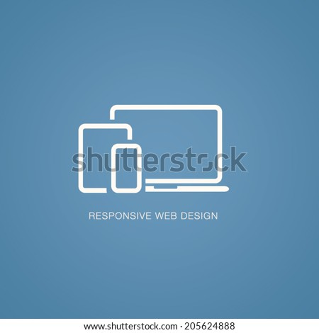 Vector illustration of responsive web design in laptop, tablet and smartphone - stock vector