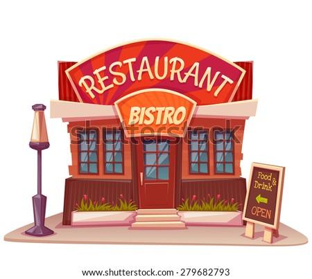 vector illustration restaurant bistro building bright stock vector rh shutterstock com clipart restaurant menus clipart restaurant menus