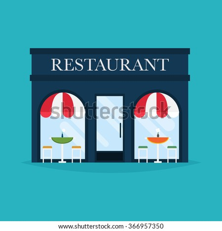 Vector illustration of restaurant building. Facade icons. Ideal for restaurant business web publications and graphic design. Flat style vector illustration. - stock vector