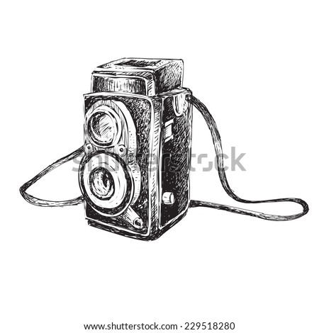 Vector illustration of retro camera in doodle style - stock vector
