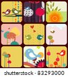 Vector Illustration of retro Flowery design greeting cards with birds, rainbow and trees. - stock vector