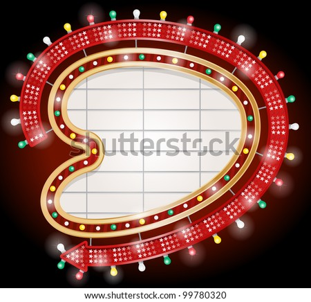 Vector illustration of Retro Googie style kidney shaped sign with arrow. - stock vector