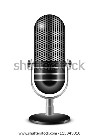 Vector illustration of retro microphone - stock vector