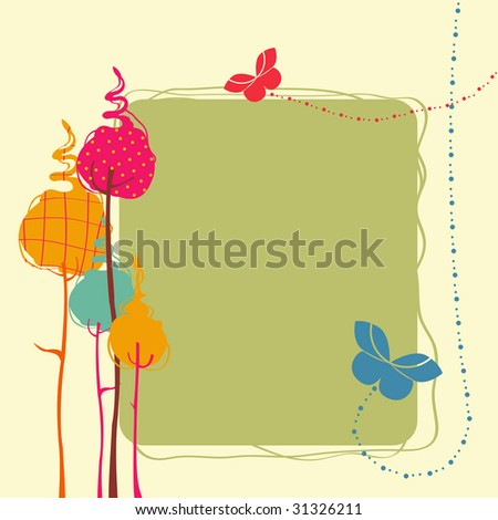 Vector Illustration of retro nature design greeting card with copy space for your text - stock vector