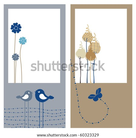 Vector Illustration of retro nature design greeting cards with copy space for your text - stock vector