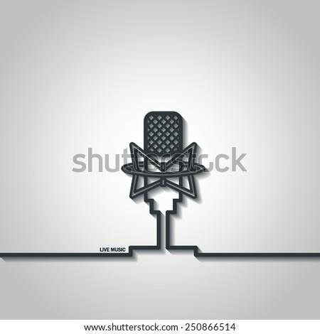 Vector Illustration of Retro Outline Microphone for Design, Website, Background, Banner. Logo Radio or Record studio Element Template - stock vector