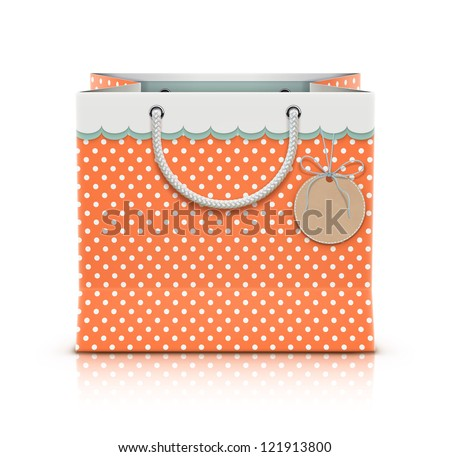 Vector illustration of retro paper shopping bag with funky tag isolated on white background. - stock vector