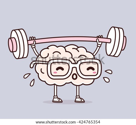 Vector illustration of retro pastel color pink brain with glasses lifting weights on gray background. Exercising cartoon brain concept. Doodle style. Thin line art flat design of brain for training - stock vector