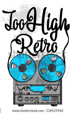 Vector illustration of retro record player with wording - stock vector