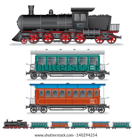 Vector illustration of Retro Steam Train with Coach Waggons. - stock vector