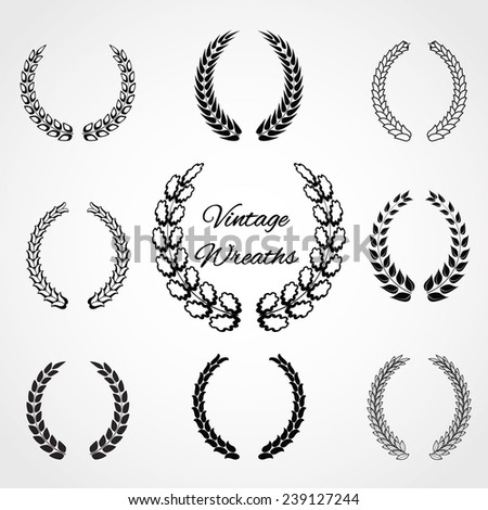 Vector Illustration of Retro Wreaths for Design, Website, Background Banner. Vintage Element Template for Logo or Label - stock vector