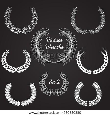 Vector Illustration of Retro Wreaths for Design, Website, Background Banner. Vintage Element Template for Logo or Label or Emblem. Black and White. Chalk on Blackboard - stock vector