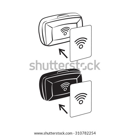 Vector illustration of RFID device and card - stock vector