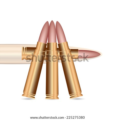 Vector illustration of rifle bullets on white background