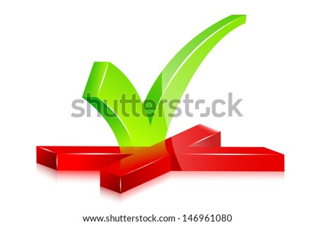 vector illustration of right and wrong sign - stock vector