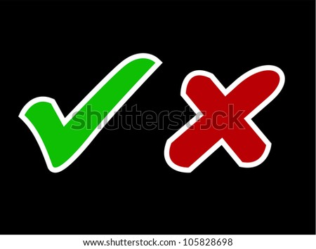 vector illustration of right and wrong sign in black background
