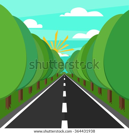 Vector illustration of road and tree