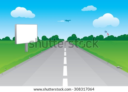 Vector illustration of road perspective with blank billboard. Many details included, blank billboard, butterflies, rocks, airplane and forest at the distance...