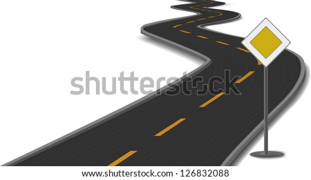 Vector illustration of road with main-road sign - stock vector