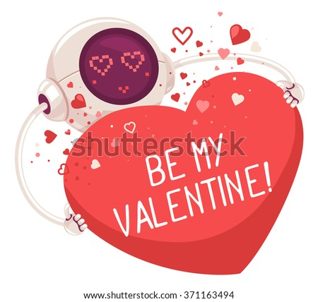 Vector illustration of robot holding red heart with inscription on white background. Art design for Valentine's Day greetings and card, web, banner, poster, flyer, brochure, print.   - stock vector