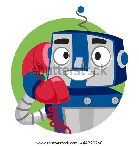 Vector Illustration of Robot talking on Phone