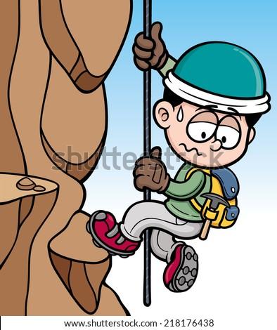 Vector illustration of Rock climber - stock vector