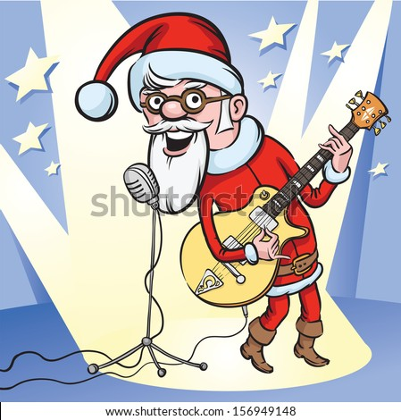 Vector illustration of rock n roll Santa singing. Easy-edit layered vector EPS10 file scalable to any size without quality loss. High resolution raster JPG file is included. - stock vector