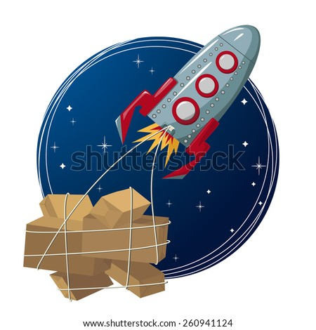 Vector Illustration of Rocket in space transporting boxes - stock vector