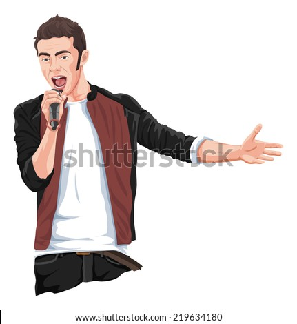 Vector illustration of rockstar singing in mike. - stock vector
