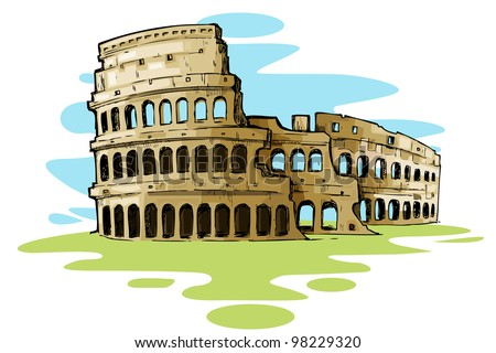 vector illustration of Roman Colosseum against abstract background - stock vector