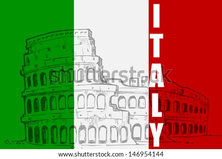 vector illustration of Roman Colosseum  against Italy flag background - stock vector