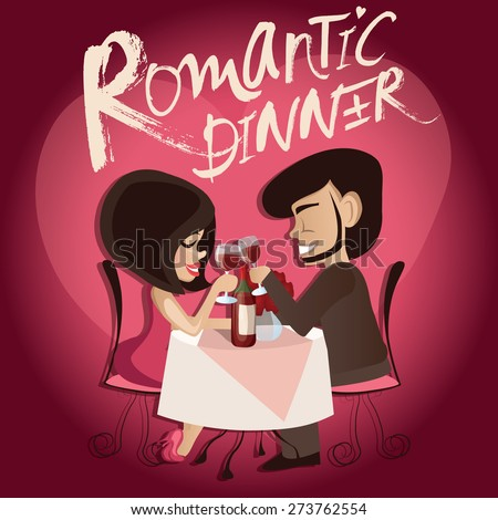 Vector illustration of romantic couple in the cafe , Valentine's Day Card - stock vector
