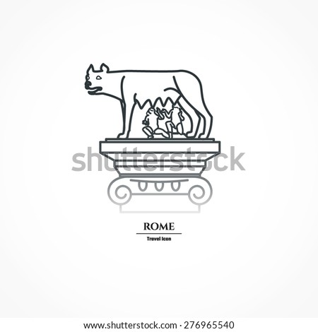 Vector Illustration Rome Landmark Outline Design Stock Vector ...