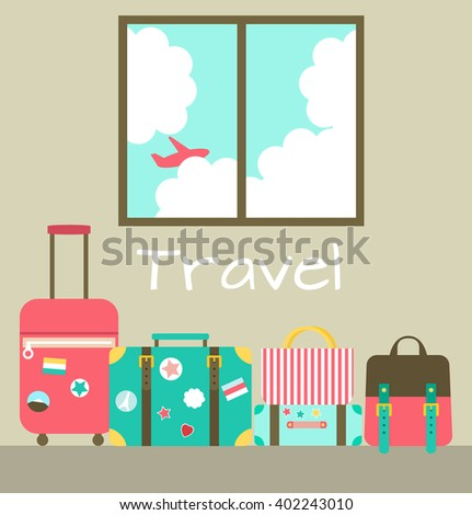 Vector illustration of room with window and travel bags