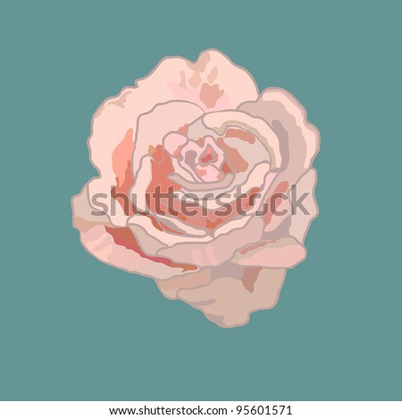 Vector illustration of rose abstract rose isolated on blue background - stock vector