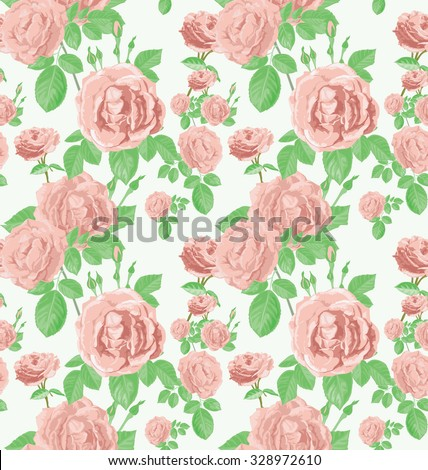 Vector Illustration of rose seamless pattern