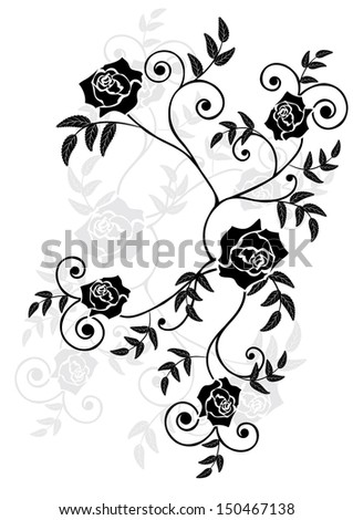 vector illustration of roses in black, grey and white colors - stock vector