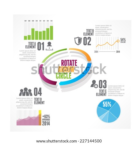 Vector illustration of rotate arrow circle infographic design element. - stock vector