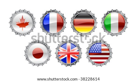 Vector Illustration of round bottle caps set, decorated with the flags of the world (G7). - stock vector