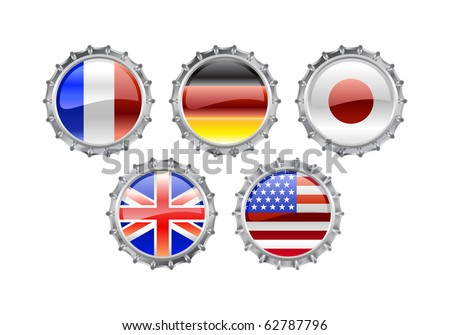 Vector Illustration of round bottle caps set, decorated with the flags of the world (G5). - stock vector