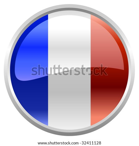 Vector Illustration of round button decorated with the flag  of French Republic